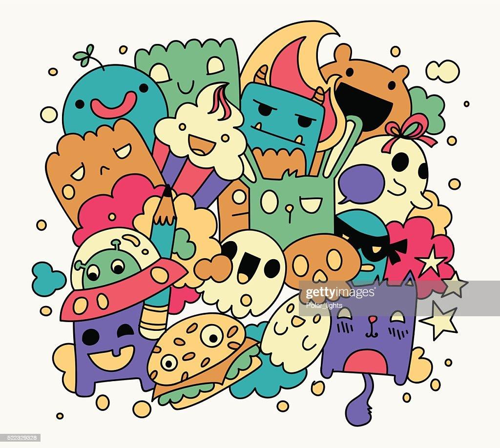 Bright funny doodles