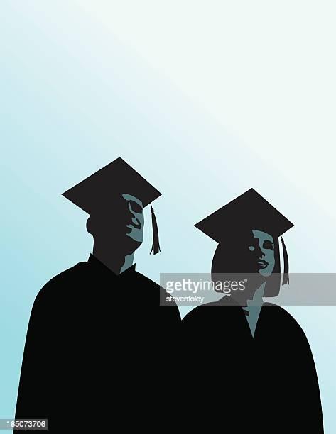 Habitación bien iluminada de futuro de graduación hombre y mujer