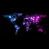 Bright glowing neon vector abstract world map on night