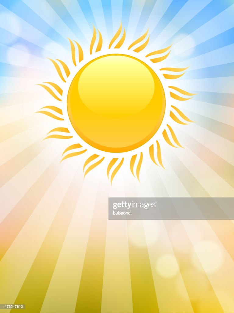 Bright glowing summer sun on abstract sky vector background