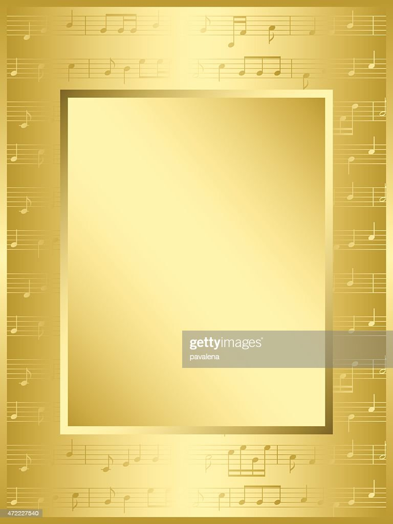 bright gold frame with music notes - vector