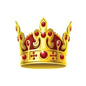 Bright golden crown on a white