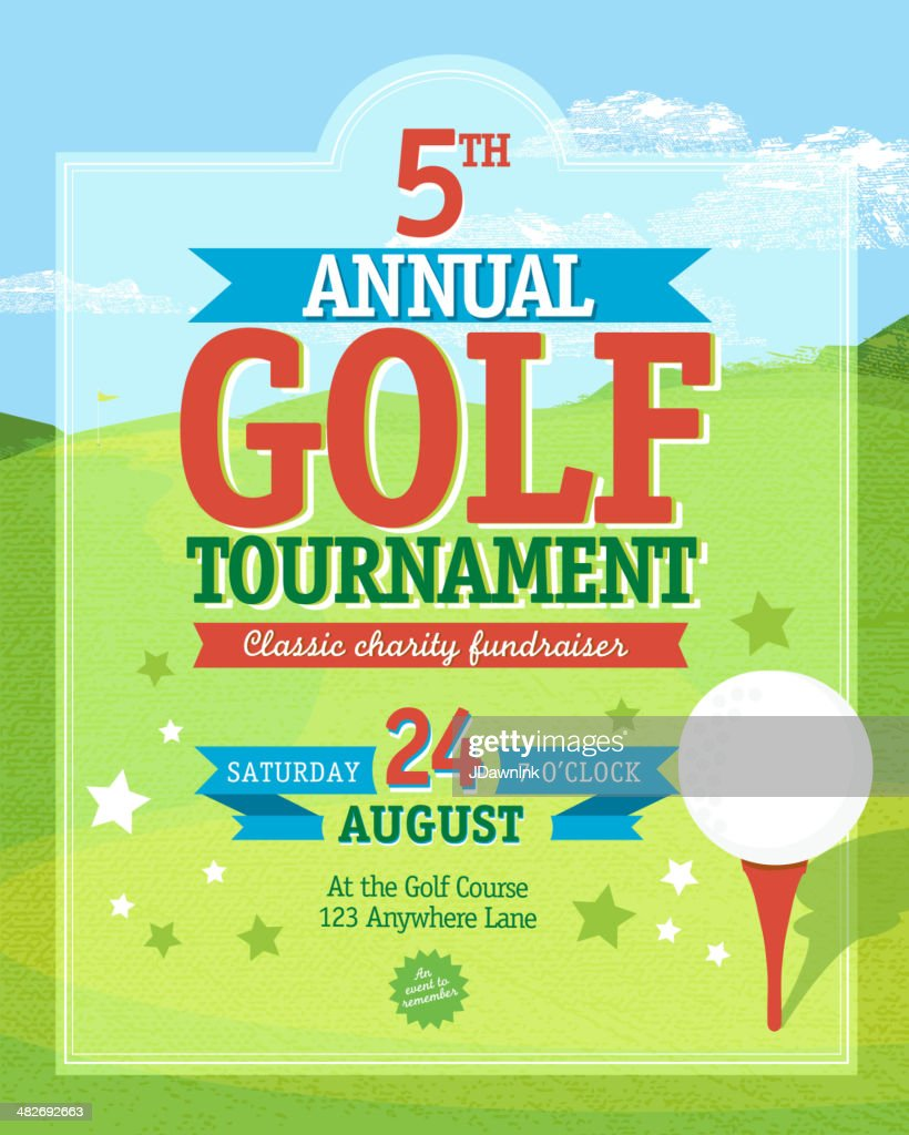 Bright Golf  tournament invitation design template on golf green background : stock illustration