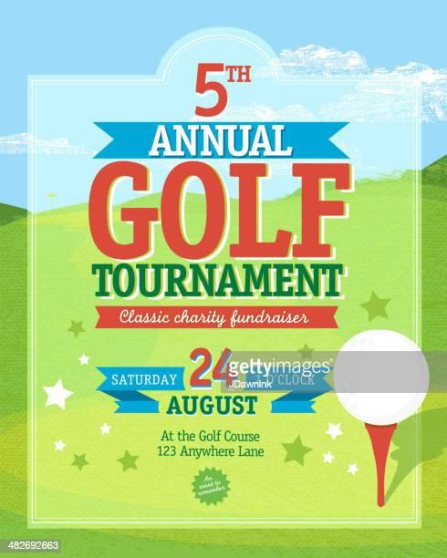 bright golf  tournament invitation design template on golf green background - golf tournament stock illustrations, clip art, cartoons, & icons