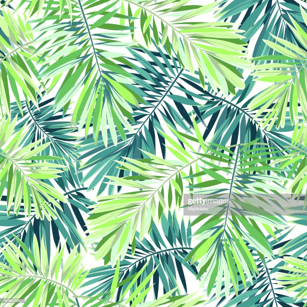 Bright green background with tropical plants. Seamless vector exotic pattern with phoenix palm leaves