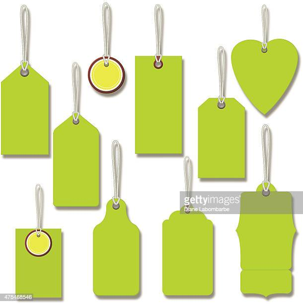 bright green gift or price tags with string - luggage tag stock illustrations, clip art, cartoons, & icons