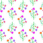 Bright hand drawn flowers on white background