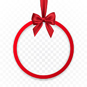 Bright holiday round frame banner hanging with red ribbon and silky bow  on transparent background. Vector illustration