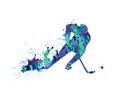 Bright ice-hockey player icon