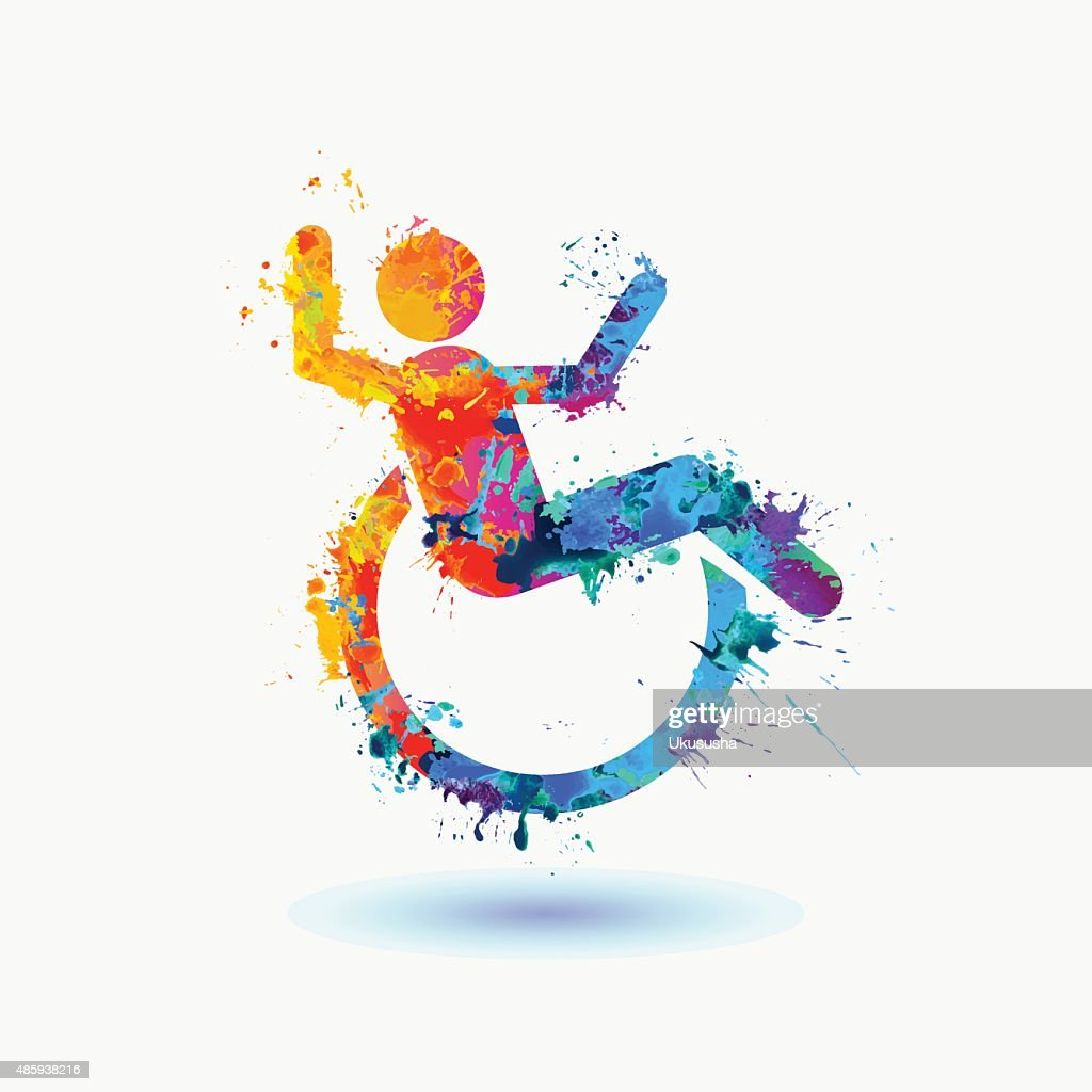Bright  icon of happy disabled people