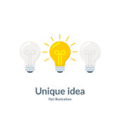 Bright idea concept with light bulb. Unique idea. Vector illustration isolated on white background.