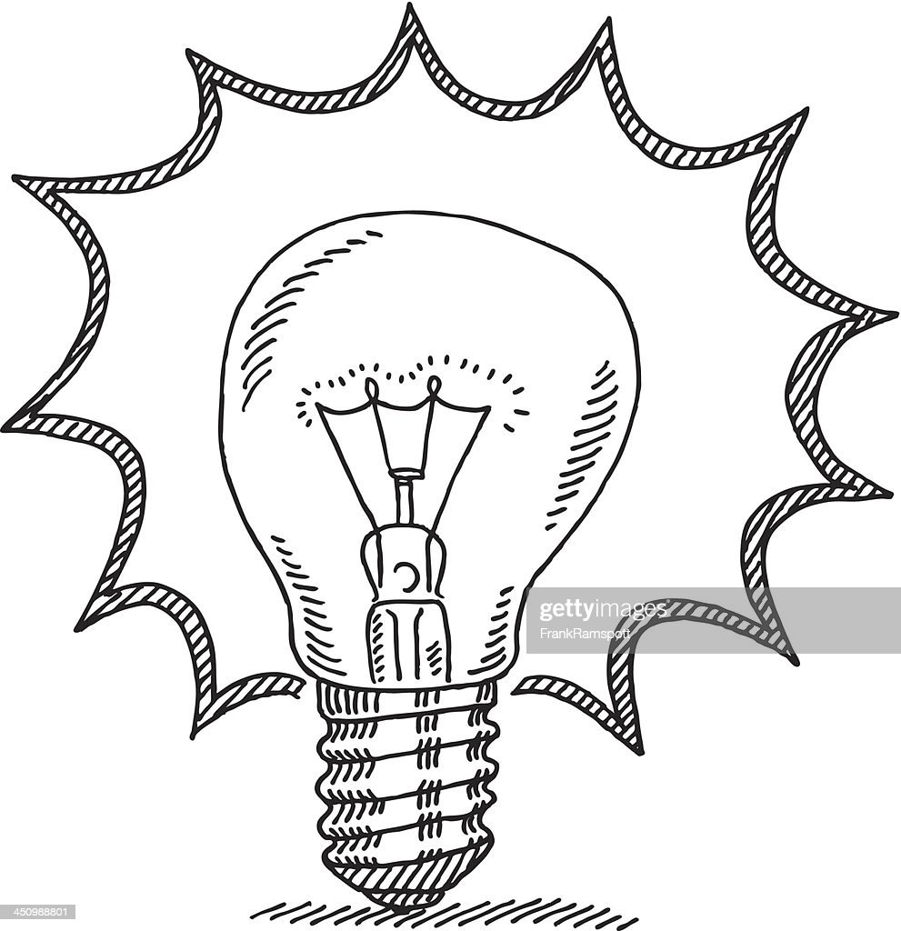 Bright Idea Light Bulb Drawing Vector Art Getty Images