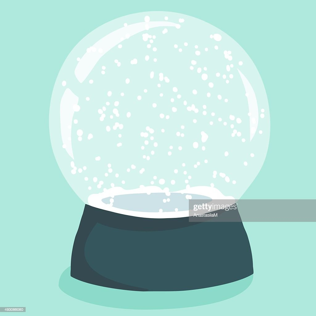 Bright illustration with cute cartoon snow globe
