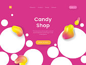 Bright landing page template with pink background - Candy Shop, can be used for sweet bakery, tasty dessert, cream cake, delicious pie store and cafe web sites.