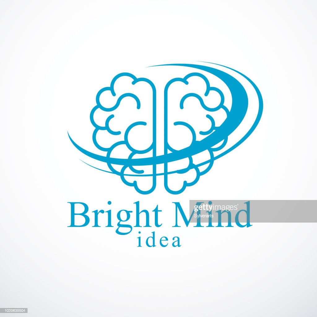 Bright Mind vector icon with human anatomical brain. Thinking and brainstorming concept.