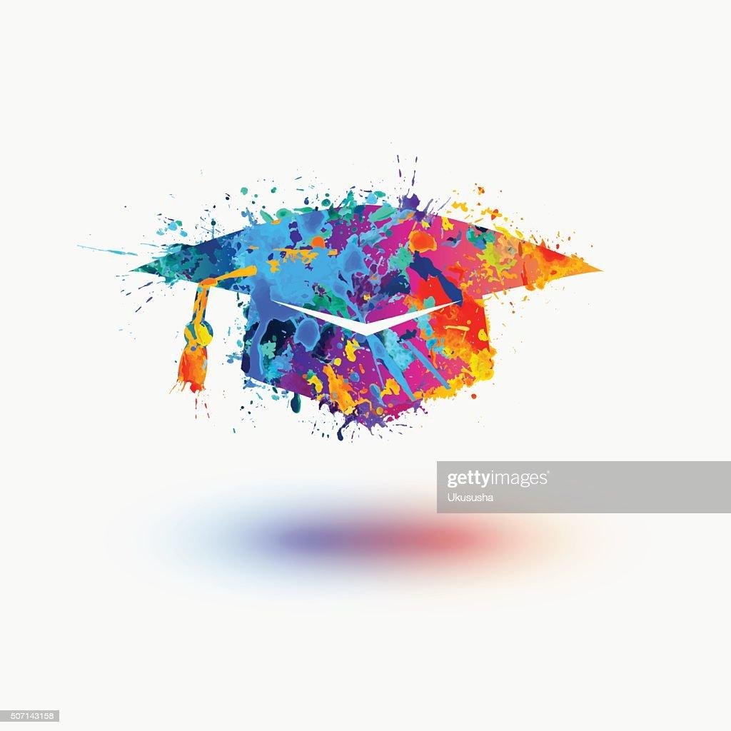 Bright mortar Board (Graduation Cap) vector watercolor icon