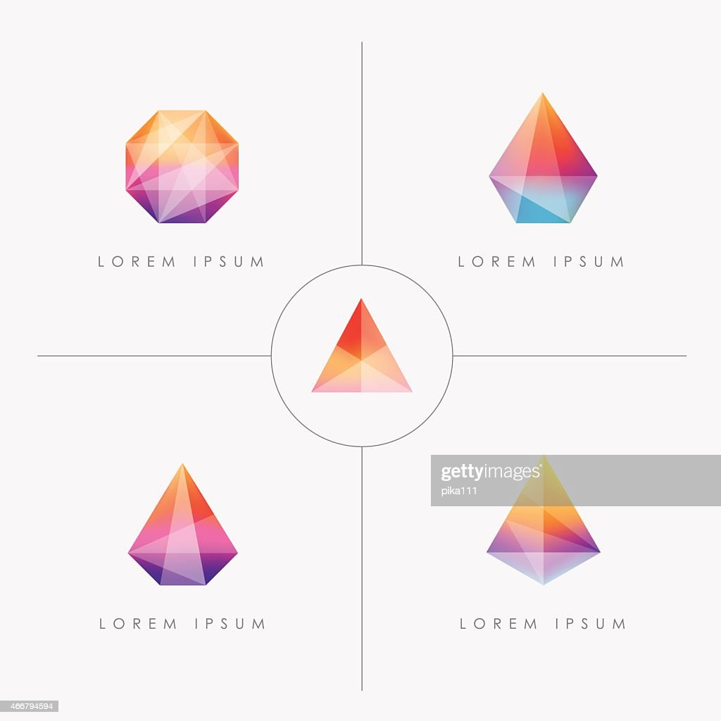 bright multicolored geometric polygon facet crystal gem icons