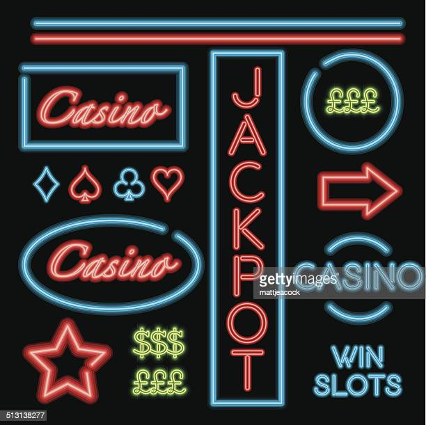 bright neon signs showing the way to the casino. - jackpot stock illustrations, clip art, cartoons, & icons