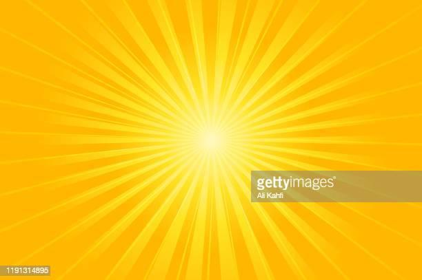 illustrazioni stock, clip art, cartoni animati e icone di tendenza di bright orange and yellow rays vector background - raggiante