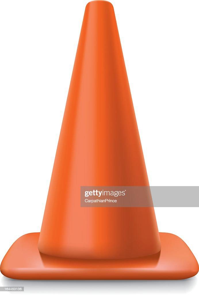 Bright orange traffic cone on a white background