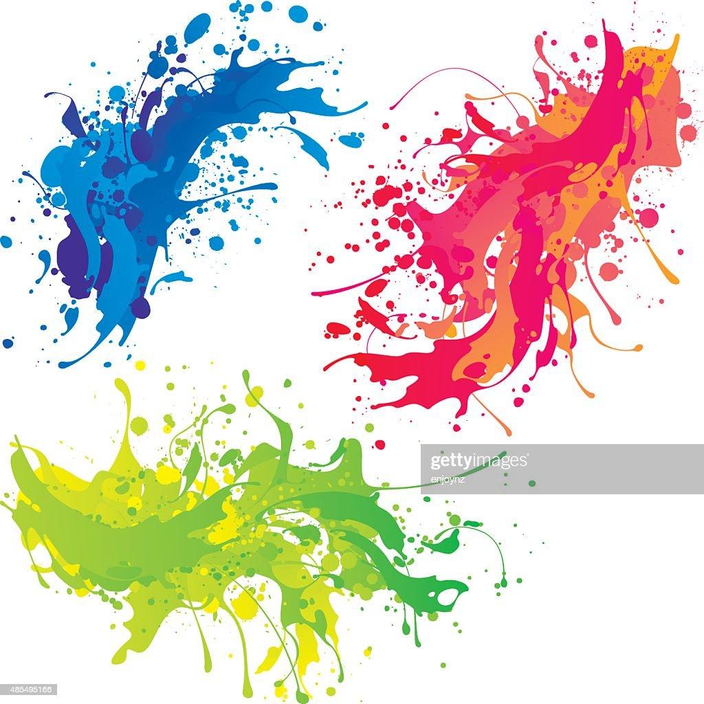 Bright paint splashes : Stock Illustration