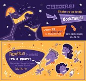 Bright party flyers in mid century style. Horizontal templates with