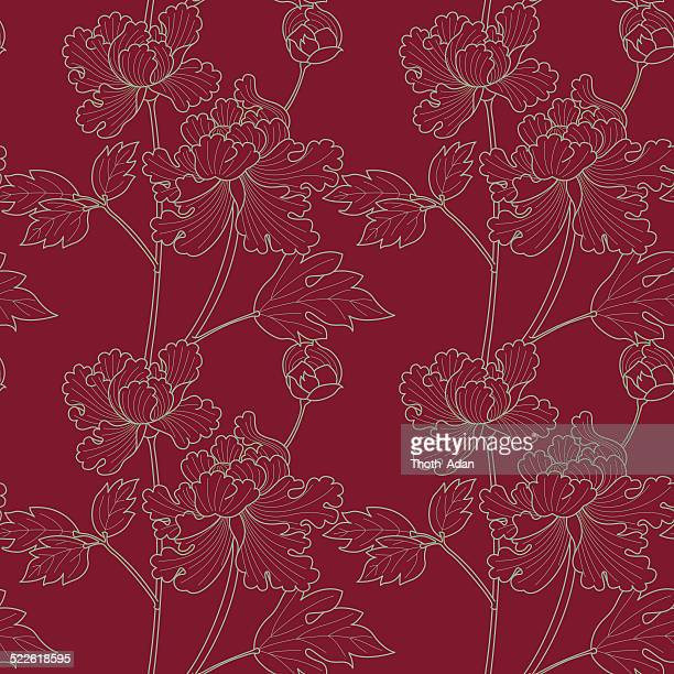 bright peoniy drawing on ruby background (seamless pattern kimono style) - japanese culture stock illustrations