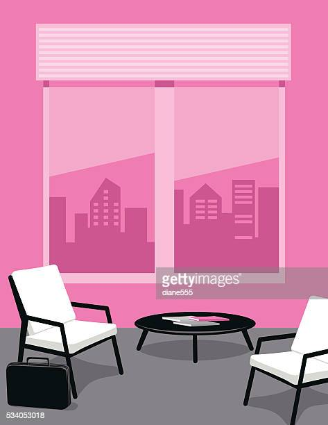 Bright Pink and Grey Office or waiting Room