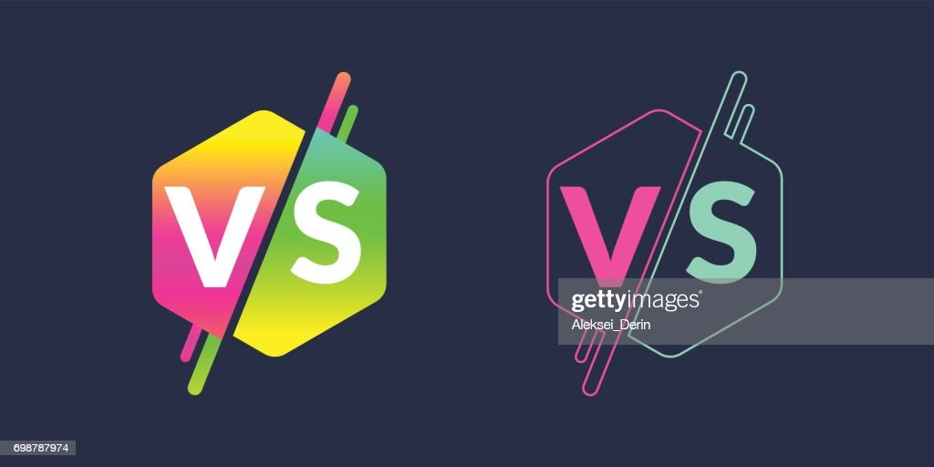 Bright poster symbols of confrontation VS, can be the same icon. Vector illustration