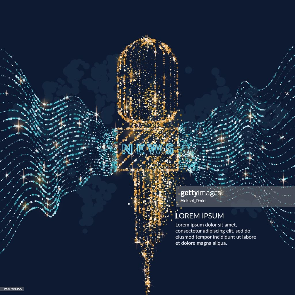 Bright poster with a news microphone, the dynamic waves are made of gold and blue glitter