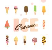 bright poster with ice cream