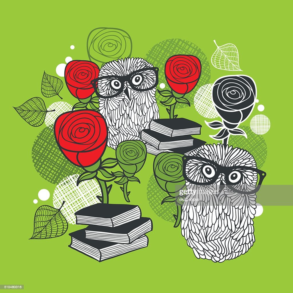 Bright print with polar owls and red roses.