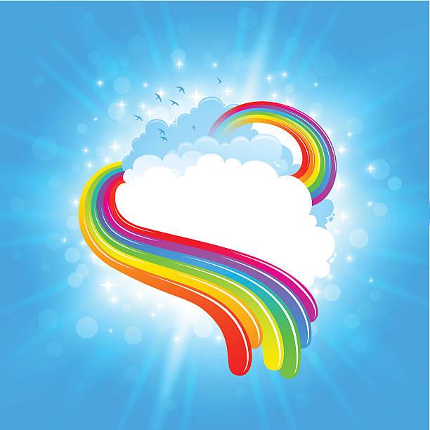 bright rainbow cloudscape design - rainbow stock illustrations