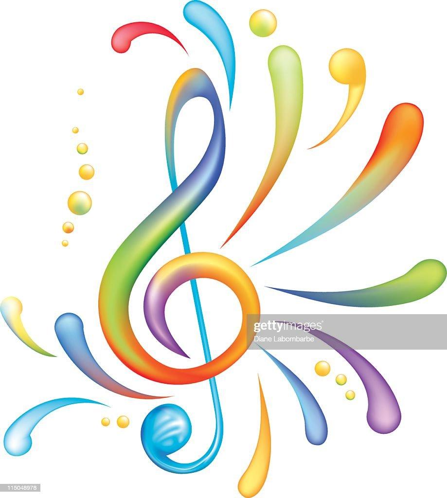 Bright Rainbow of Colors Splashy Treble Clef Isolated on White : stock illustration