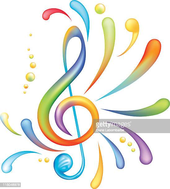 bright rainbow of colors splashy treble clef isolated on white - treble clef stock illustrations, clip art, cartoons, & icons