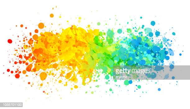 bright rainbow paint splash - painted image stock illustrations