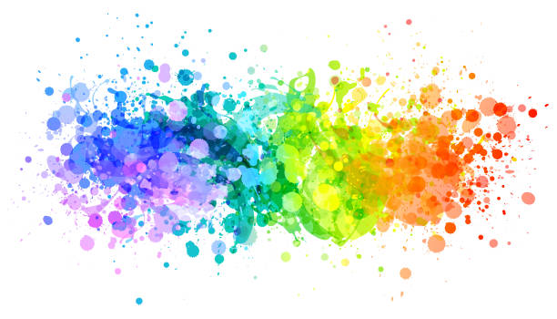 bright rainbow paint splash vector - rainbow stock illustrations