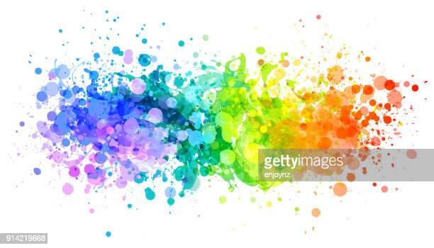 bright rainbow paint splash vector - rainbow stock illustrations, clip art, cartoons, & icons