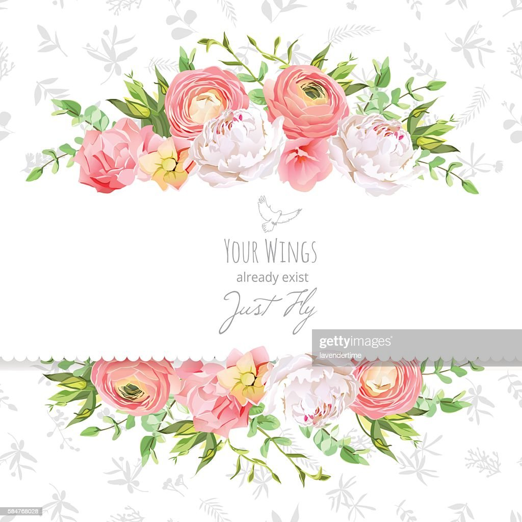 Bright ranunculus, peony, rose, carnation horizontal vector design frame