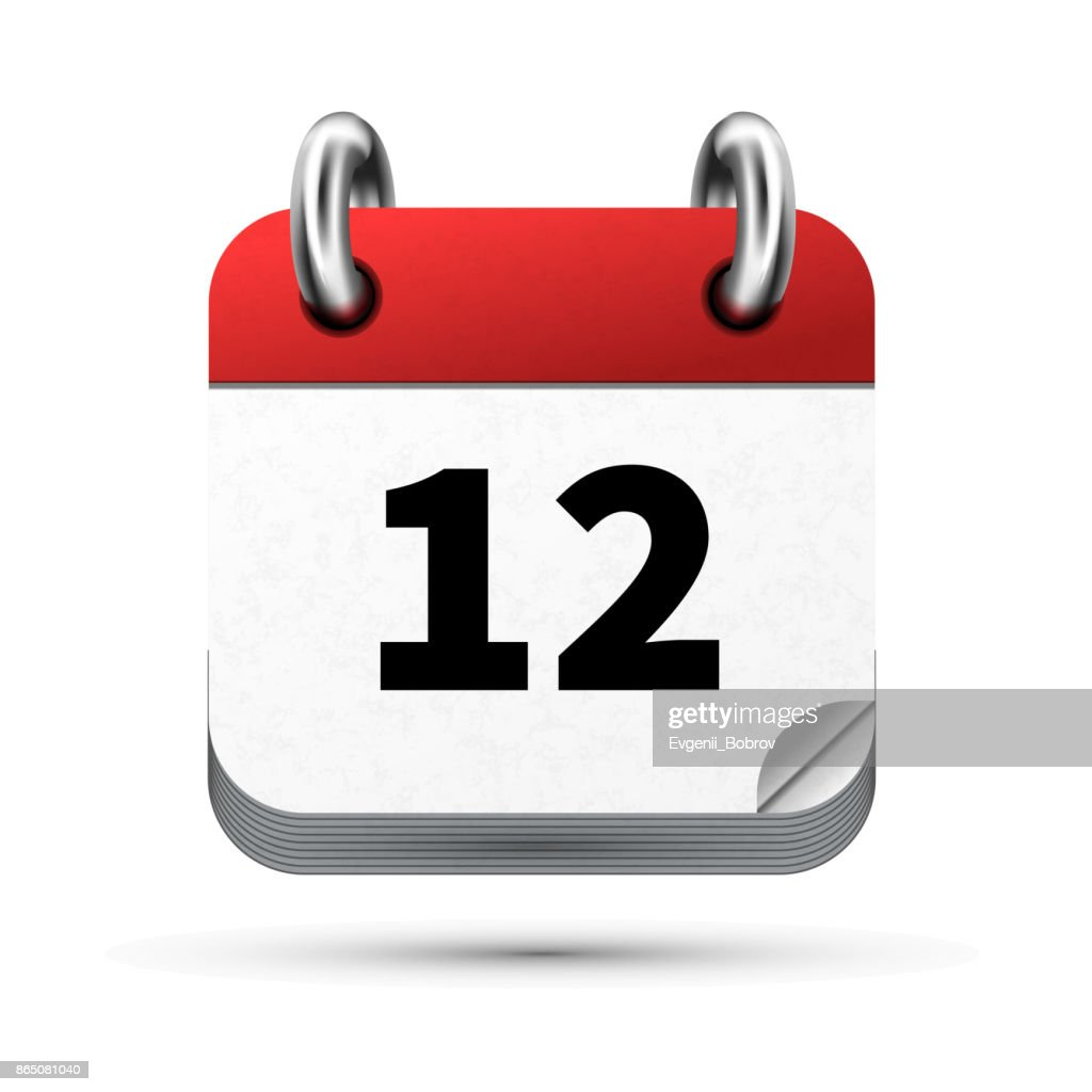 Bright realistic icon of calendar with 12 date isolated on white