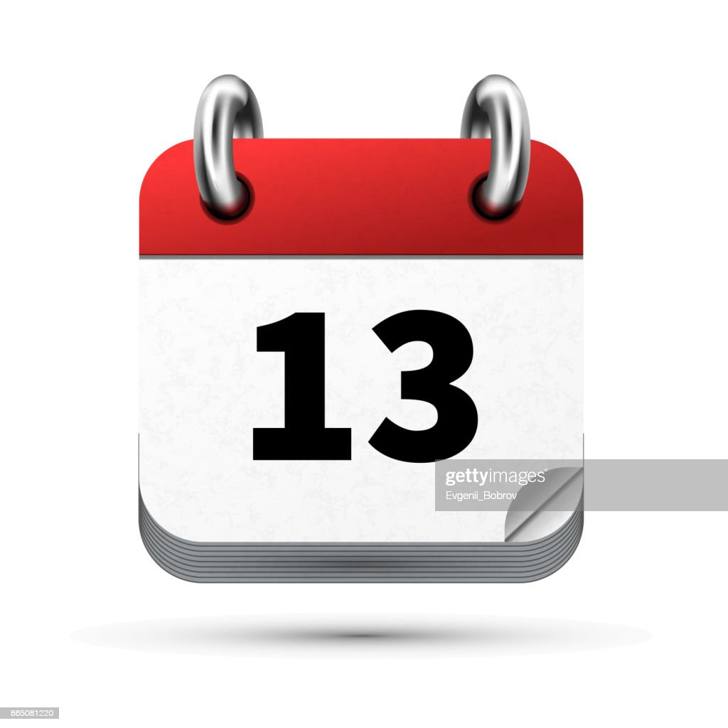 Bright realistic icon of calendar with 13 date isolated on white