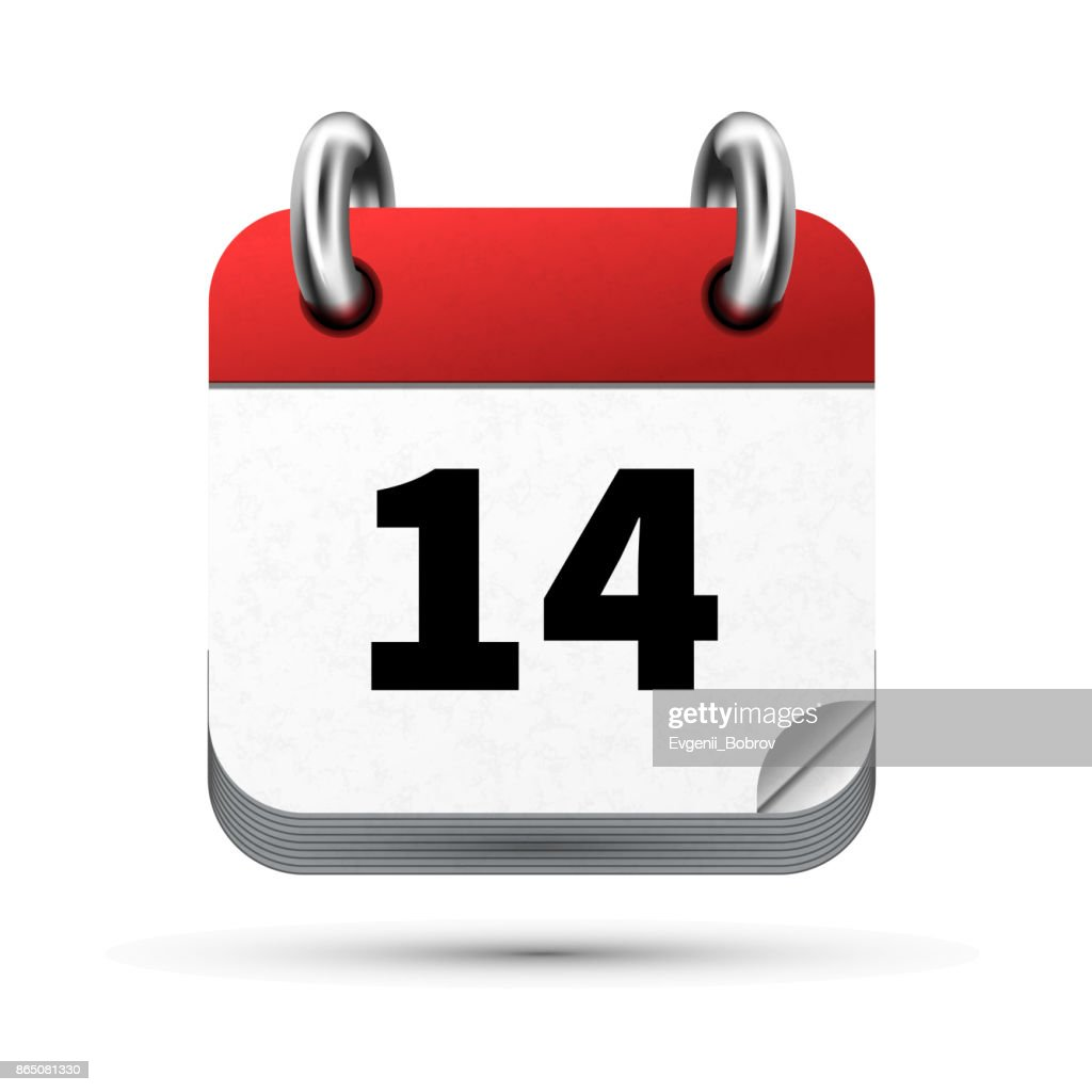 Bright realistic icon of calendar with 14 date isolated on white