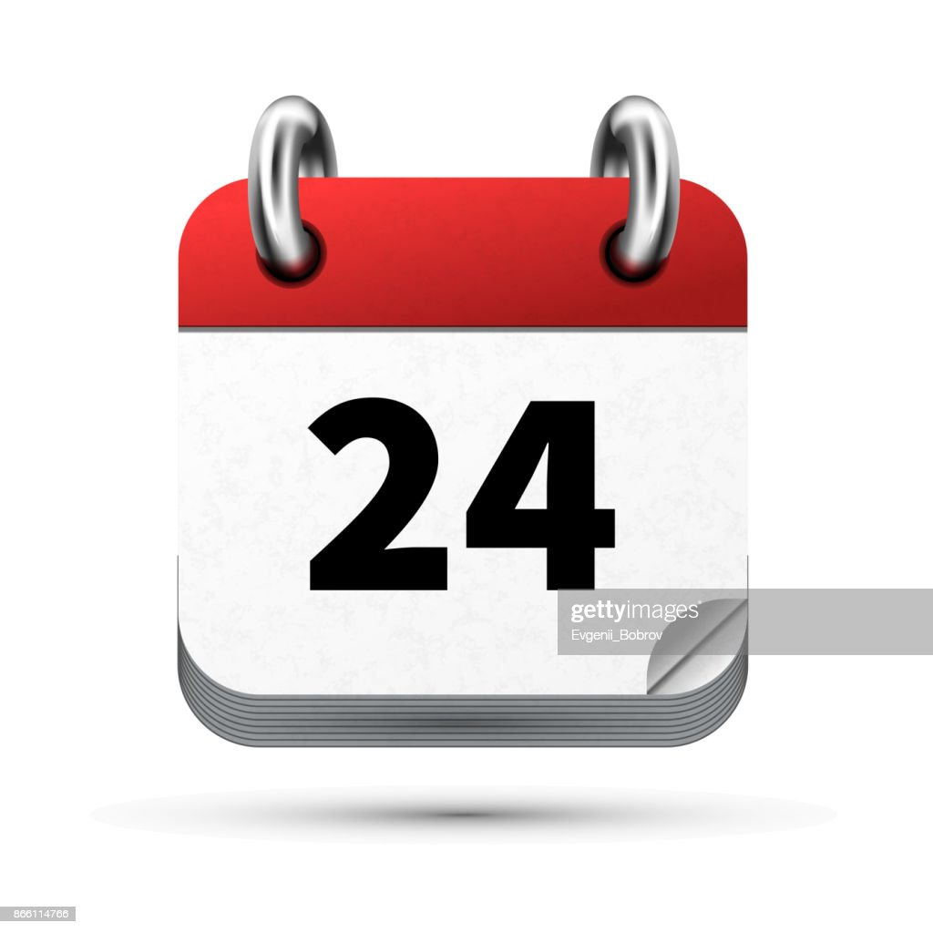 Bright realistic icon of calendar with 24 date isolated on white