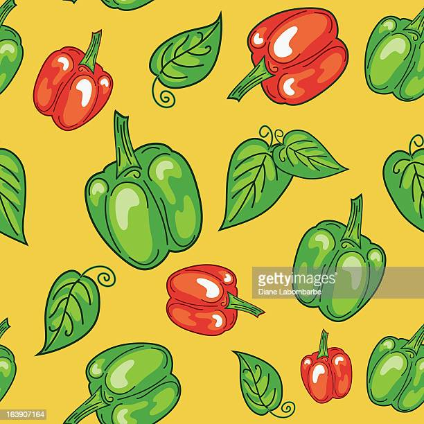bright red and green peppers pattern - plant attribute stock illustrations, clip art, cartoons, & icons