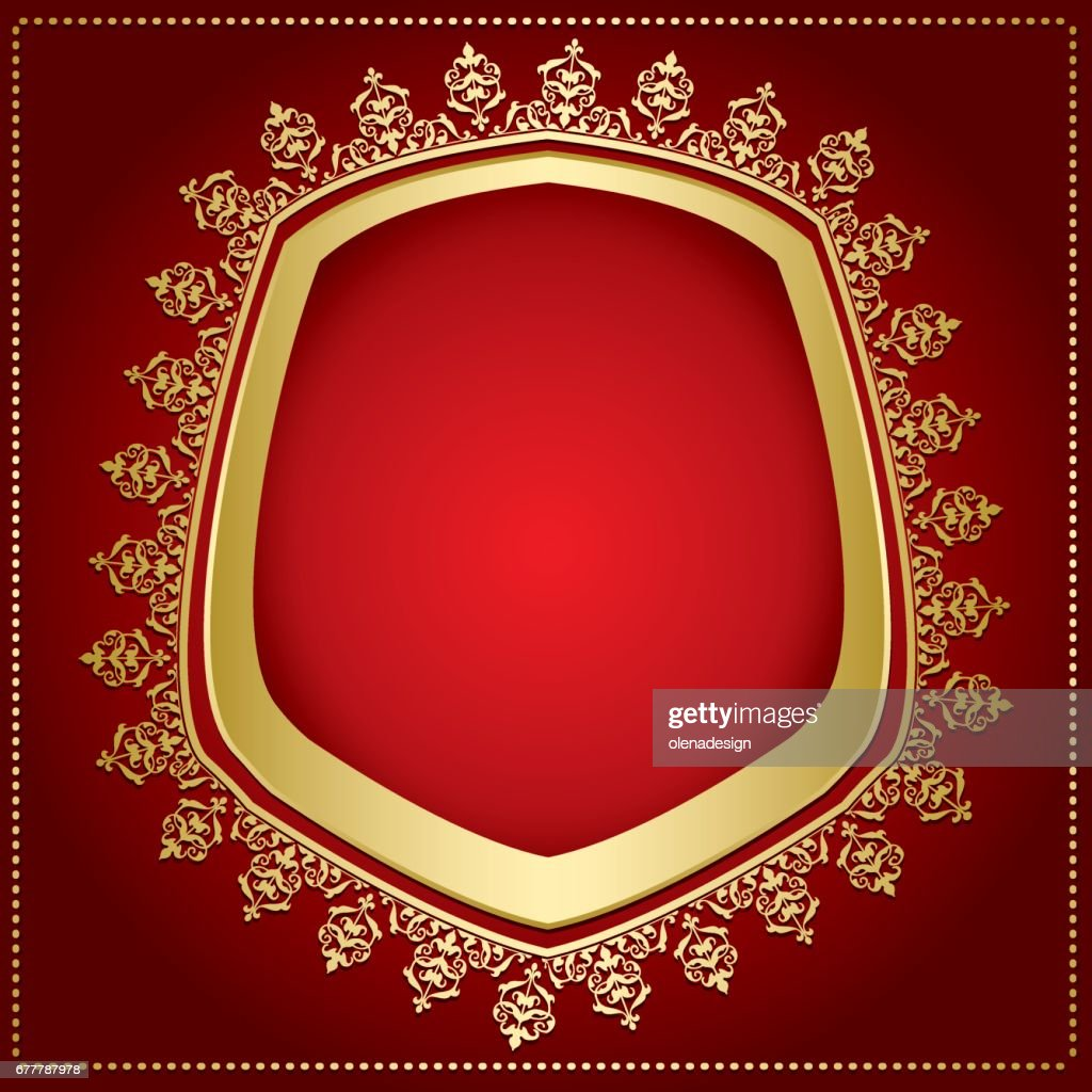 bright red background with gold frame and transparent shadow inside - vector