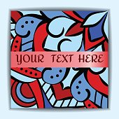 Bright red blue square leaflets with oriental ornament