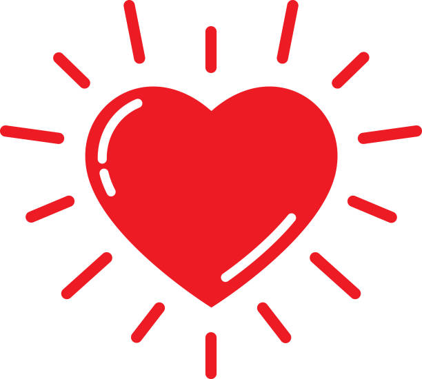 bright red heart icon - heart shape stock illustrations