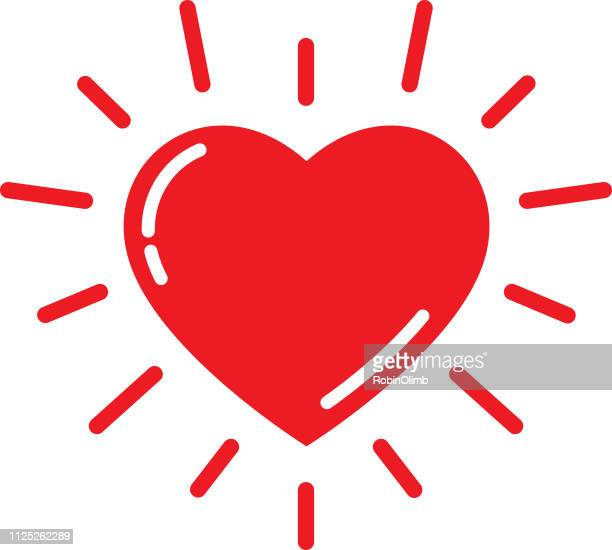 bright red heart icon - heart symbol stock illustrations