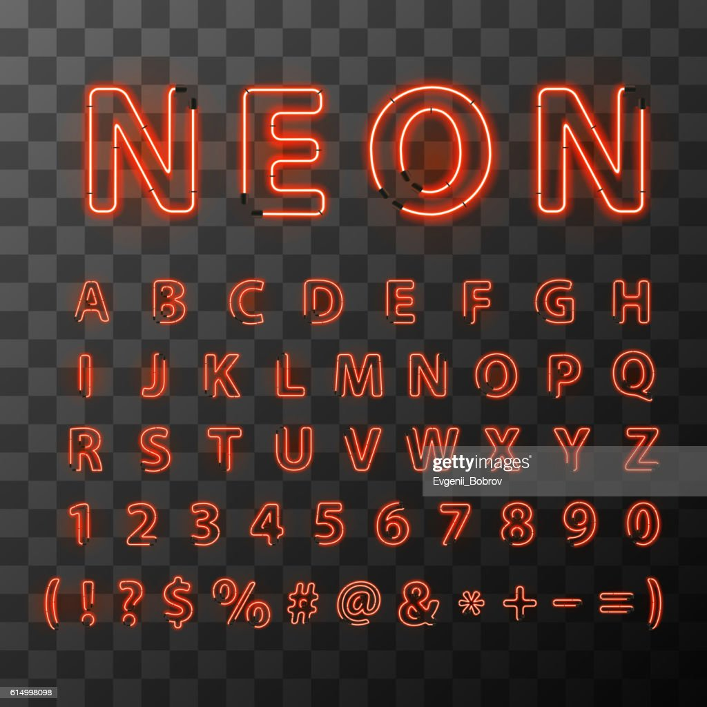 Bright red neon letters