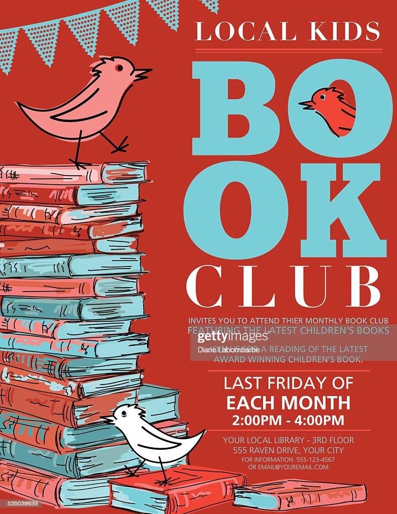 Bright retro style childrens book club invitation poster vector art similar images stopboris Gallery